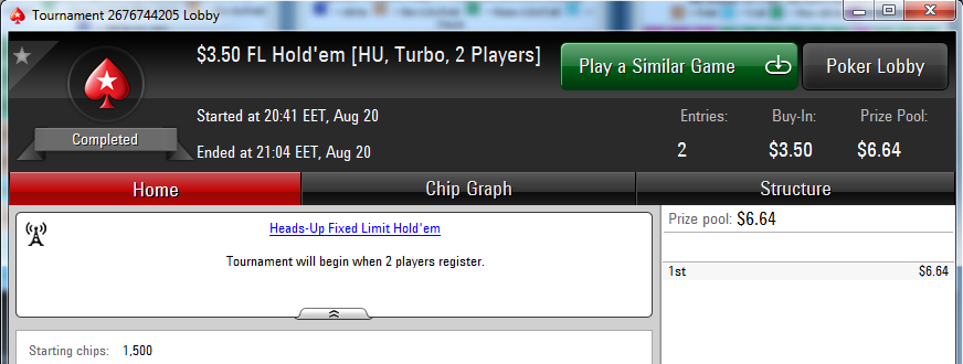 limit holdem outcome